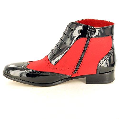 Stiefel gefüttert Herren Zank Patent Brogue Glänzend Vintage Leder Gatsby Rot Schwarz awwOqg8