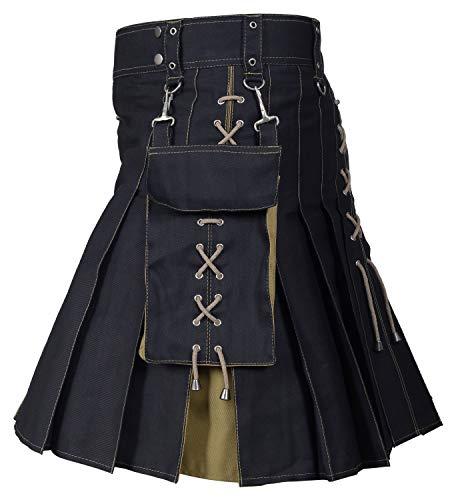 Utility Kilt Black and Khaki Hybrid Kilt New For Men's (38, ()