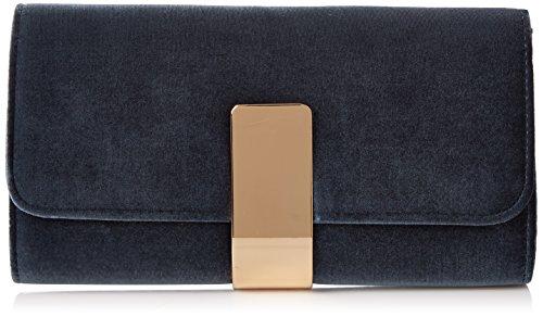 Dorothy Perkins- Faux Velvet Structured Clutch, Carteras de mano  Mujer, Azul (Navy), 28x17x5.5 cm (W x H x L)