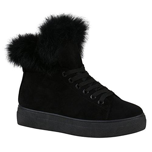 Stiefelparadies Damen Sneaker High Warm Gefütterte Sneakers Winter Schuhe Profilsohle Winterschuhe Schnürer Wildleder-Optik Turnschuhe Flandell Schwarz Amares