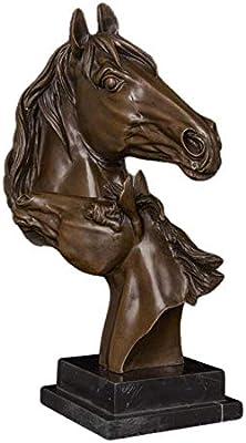 QIBAJIU Esculturas Y Estatuas De Jardín Escultura Decorativa 41Cm Cabeza De Caballo Figuras De Bronce Escultura Busto De Cobre Estatua del Zodiaco Chino para La Decoración del Hogar: Amazon.es: Hogar