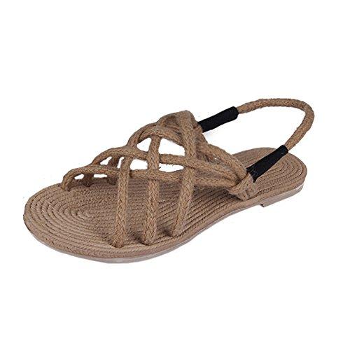 Angelliu Frauen-Böhmen-Retro- handgemachte Seil Verband römischen Sandalen flache Schuhe Strand Aprikose