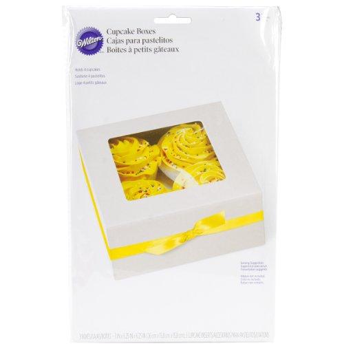 Cupcake Boxes-4 Cavity White 3/Pkg