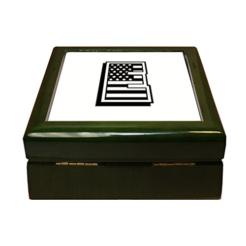 Initial Tile Box (Style in Print E American Flag Initial Monogram Letter E 4