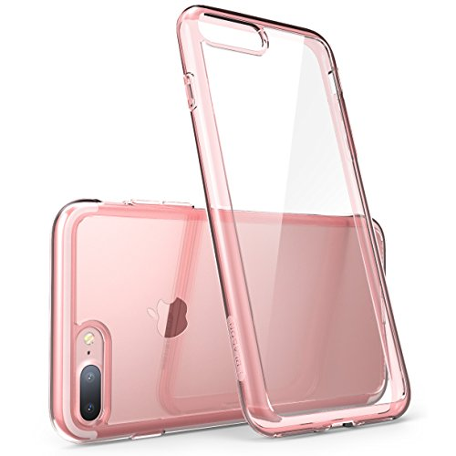 iPhone 8 Plus Case, [Scratch Resistant] i-Blason Clear Case [Halo Series] for Apple iPhone 7 Plus 2016 /iPhone 8 Plus 2017 Release, Clear/Rose Gold Clear Pink Case