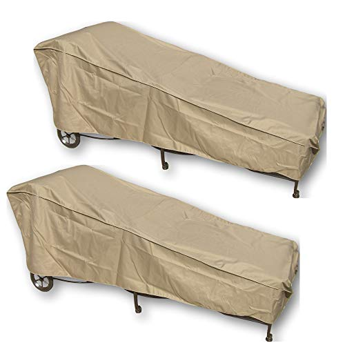 Lounger Adjustable Teak Chaise (SUNMART 2 Patio Chaise Covers - Protect Your Furniture from UV Mildew Mold Water Damage with Adjustable Peel and Stick Fasteners in Taupe - Value Pack of 2)