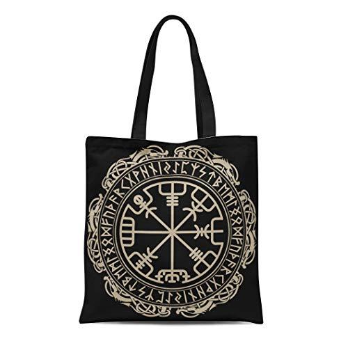 Semtomn Cotton Canvas Tote Bag Viking Magical Runic Compass Vegvisir in the Circle Reusable Shoulder Grocery Shopping Bags Handbag Printed