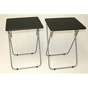 Good EHemco Set Of 2 Folding Tv Trays Tv Tables   Black Tops