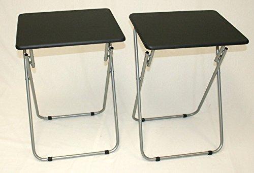 eHemco Set of 2 Folding Tv Trays Tv Tables - Black Tops by eHemco