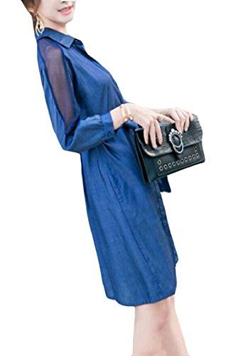 Jaycargogo Des Femmes De L'automne Longue Patchwork De Maille De Manchon Robe En Jean Midi Avec Du Bleu De Lumière À Bande
