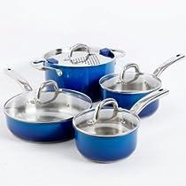 Simplemente Delicioso 92157.08 Arte Gourmet Cookware Set, Blue - 8 Piece