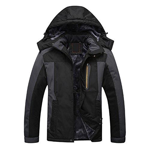 Pardessus Taille Manteaux Vestes Plein Air vent Deylaying Épais Hommes Noir Combinaison De Grande Chasse Escalade Coupe Ski pxwHHtgZ