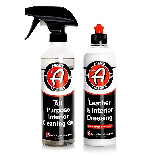 Adam's All Purpose Interior Cleaning Kit - Clean All Interior Surfaces Carpets & Car Accessories - Protect Your Leather Plastic Seats Vinyl & Dash (All Purpose Interior Gel & Matte Leather Dressing)