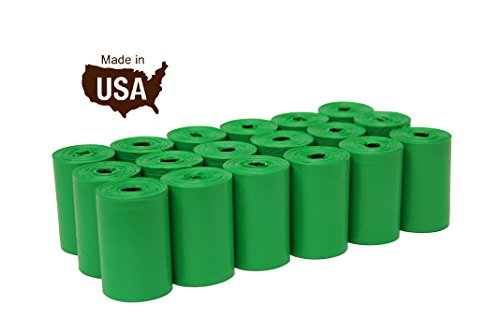 FiveStarPet 9 x 14.25 Dog Waste Bags with Dispenser, 18 Refill Rolls, 270 Count, Green