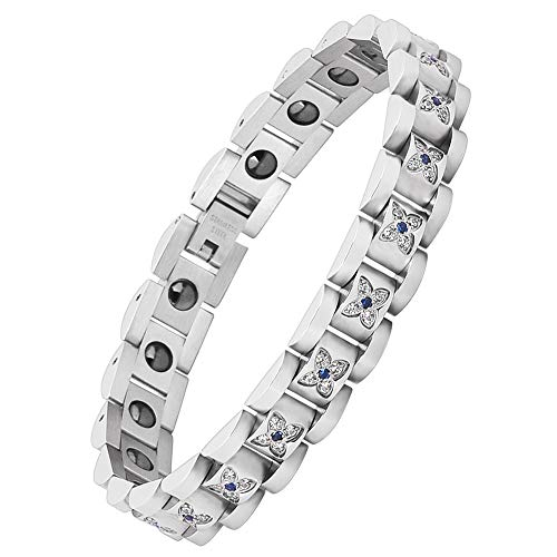 Magnetic Therapy Bracelet for Women Titanium Steel Health Pain Relief for Arthritis Wristband with Adjustable and Carpal Tunnel (Silver)