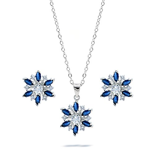Blue CZ Snowflake Jewelry Set Pendant Necklace Matching Stud Earrings Women Holiday Fashion, 18-inch