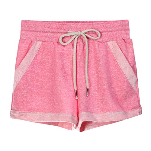 - ★QueenBB★ Women's Yoga Elastic Waist Running Athletic Shorts with Pockets and Drawstring Activewear Lounge Shorts Pink