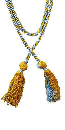 Two-Color Braided Honor Graduation Cords (Light Blue&Gold-Blocked Tassel)