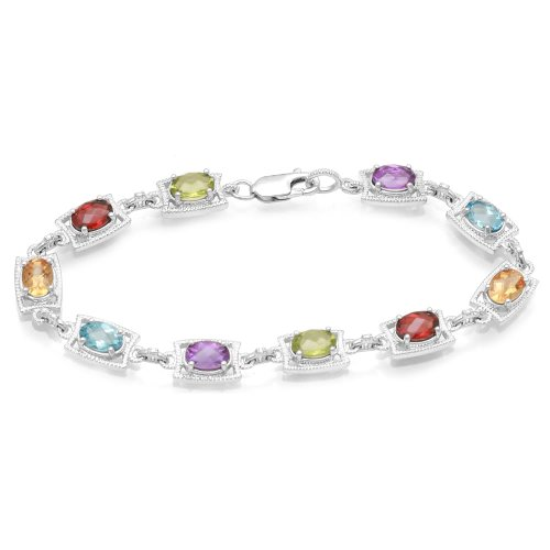 Jewelili Multi Gemstone and Diamond Bracelet in Sterling Silver, 7.5""
