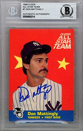 - Don Mattingly Autographed 1986 Fleer All Star Card #1 New York Yankees Beckett BAS #9889214 - Beckett Authentication