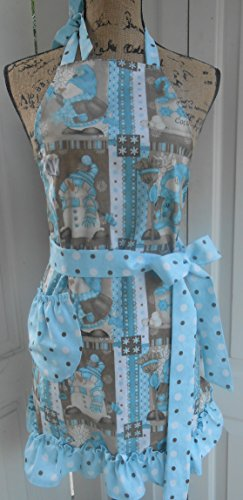 Sweet Snowman - Snowman Hot Cocoa Holiday Women's Apron, Handmade