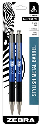 Zebra 301A Ballpoint Aluminum Retractable Pen, Fine Point, 0.7mm, Blue Barrel, Black Ink, 2-Count