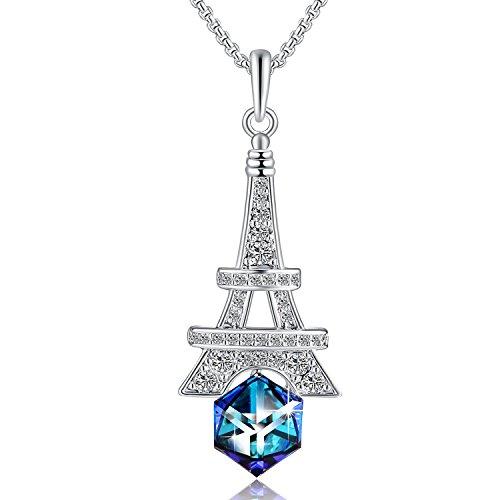 (PLATO H March Birthstone Eiffel Tower Pendant Necklace with Swarovski Cube Crystal, Heart of Ocean Blue Crytsal Neckalce, Birthday Gifts)
