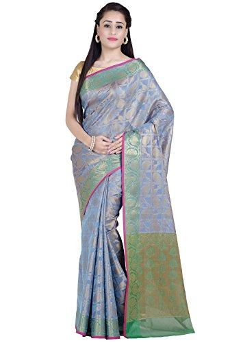 (Chandrakala Women's Blue Cotton Silk Blend Banarasi Saree,Free Size(1280BLU))