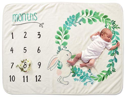 Baby Monthly Milestone Blanket – Ultra-Soft Thick Blanket, Perfect for Gift, for Boy or Girl Infant Newborn Baby, Take Monthly Photos - from 3 Cute Designs - by Le Chris ()