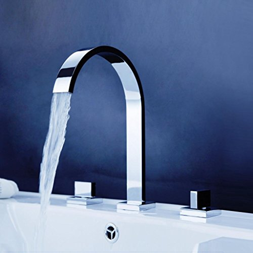 Aquafaucet Waterfall 8-16 Inch Chrome Finish 3 Holes 2 Handles Widespread Bathroom Sink Faucet by Aquafaucet (Image #1)
