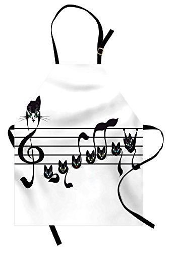 (Lunarable Music Apron, Notes Kittens Kitty Cat Artwork Notation Tune Children Halloween Stylized Monochrome, Unisex Kitchen Bib Apron with Adjustable Neck for Cooking Baking Gardening, Black)