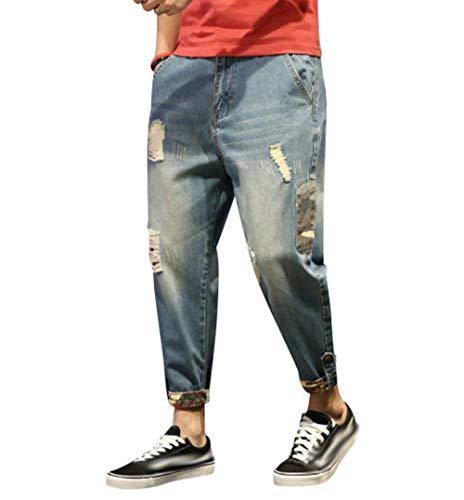 De Harem De Pantalones Pantalones Hombres De Pantalones Vaqueros Estiramiento Ripped Pantalones Mezclilla Casuales Mezclilla Destroyed Clásico Vaqueros Los Fit Slim Stil4 De Loose Chicos Pants YxqHqn1z