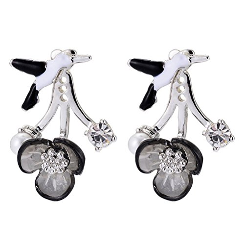 American Cut Pinwheel (The Starry Night Silver Plated Freedom Bird Alloy Crystal Studded Ancient Black Flower Earring)