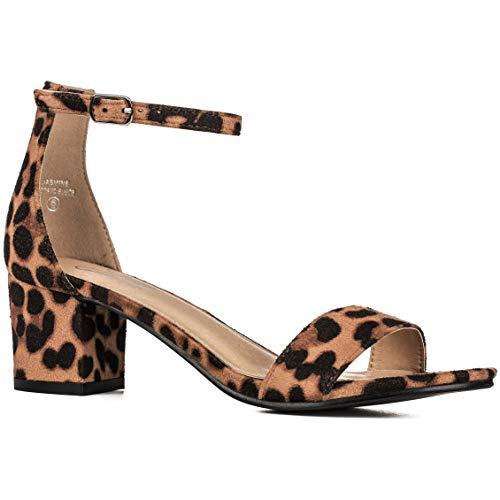 Women's Fashion Ankle Strap Kitten Heel Sandals - Adorable Cute Low Block Heel – Jasmine (8.5, Leopard) -