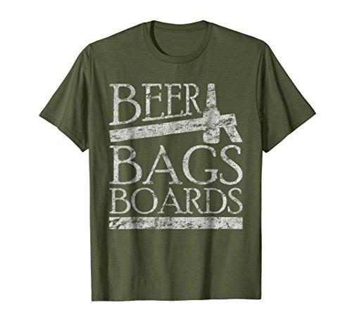 Board Bag Olive - Mens Beer Bags Boards Funny Cornhole Distressed T-Shirt Large Olive