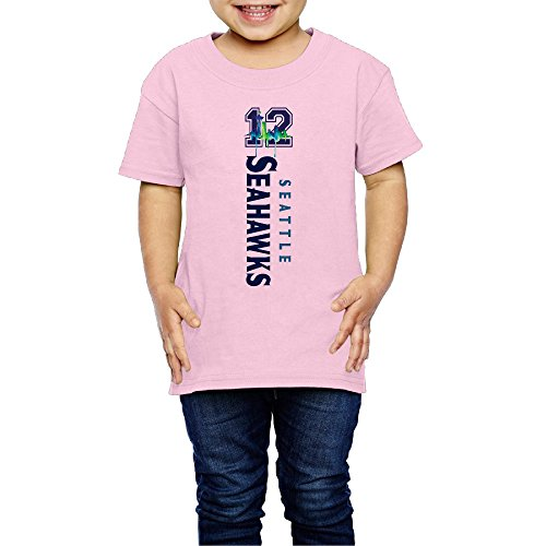 AK79 Children 2-6 Years Old Boys And Girls Tshirt Seattle #12 Logo Seahawks Pink Size 5-6 (Pink Seahawks)