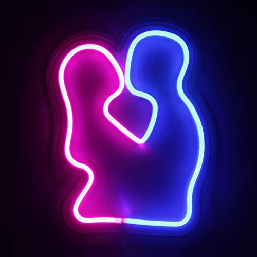 (Decorative LED Lover Shaped Neon Sign, OYE HOYE Neon Night Light Operated by Battery/USB for Home Decoration,Bedroom,Lounge,Valentine's Day,Christmas)