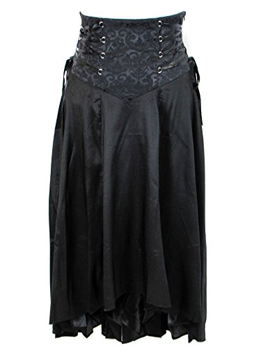 Plus Size Black Gothic Steampunk Jacquard Corset Ribbon Asymmetry Long Skirt (2X)