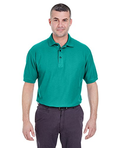 (UltraClub Men's Whisper Fit Pique Polo Shirt, Jade,)