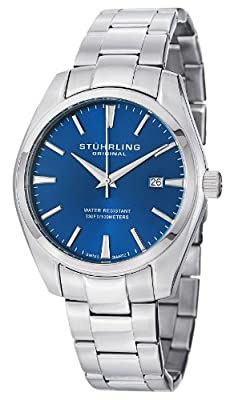 Stuhrling Original Men's 414.33116AM Classic Ascot Prime Stainless Steel Bracelet Watch with Blue Dial from Stuhrling Original