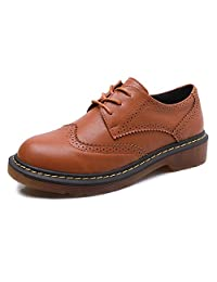 Smilun Lady's Full Brogue Derby Western Low Heel Shoes Classic Flats Round Toe