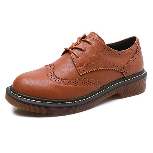 Smilun Heel Lady's Low Brogue Leather Derby Shoes Western Round Brown Toe Classic Smooth Full Flats YYXqdwr
