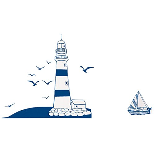 Wall Decals Blue Lighthouse PVC Wall Stickers - 6