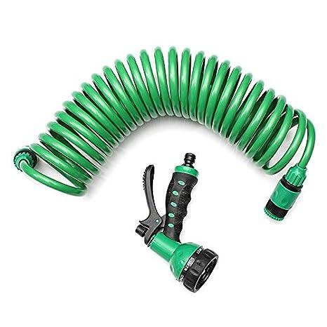 Garden Supplies 7.5m Flexible Coiled Spiral Garden Car Washing Clean Water Hose 7 Pattern Spray Nozzle For Household Car Wash Garden Water