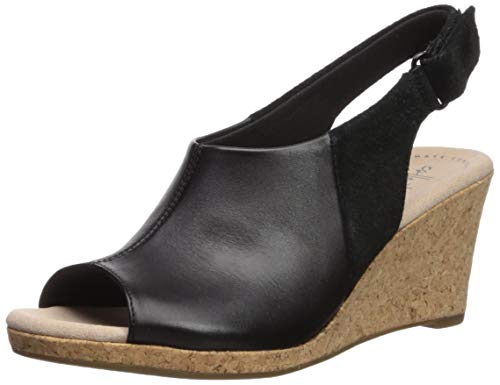 - CLARKS Women's Lafley Jess Wedge Sandal, Black Leather/Suede Combi, 095 W US