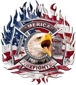 American Firefighter Flaming Maltese Cross Flag Decal with Eagle - 2