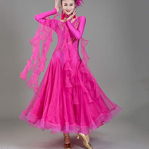 Salon Zumba Tulle Valse Wqwlf Performance Concours Pour Costume Jupe Robes Femmes De xl Tenue Moderne Blue Tango Danse strass qwAI64