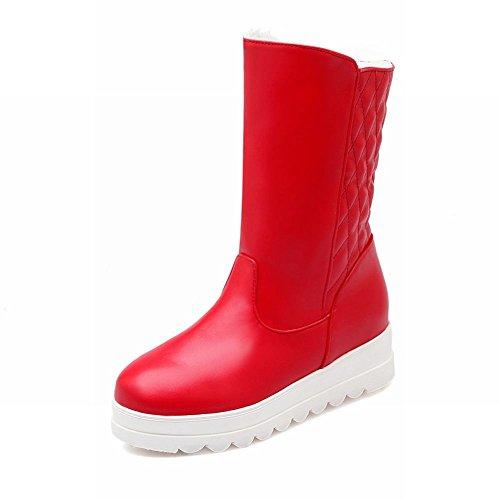 Dames Warm Winter Koud Weer Mode Kerstcadeau Verborgen Hak Snowboots Rood