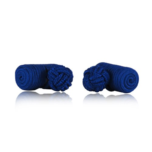 Classic Royal Blue Silk Knot Log Cufflinks With Velour Pouch by Cuff-Daddy - Blue Knot Cufflinks