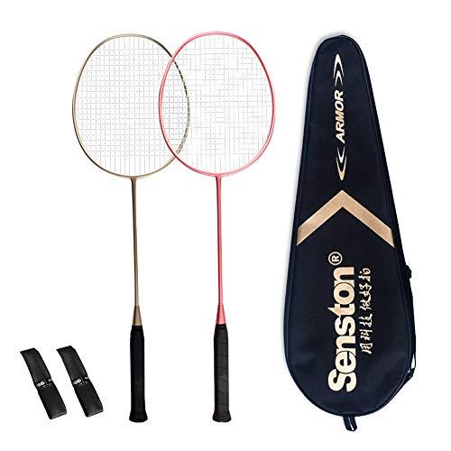 Senston S-200 Matte Badminton Racket Set Graphite Badminton Rackets (Gold Pink) Full Carbon Badminton Racquet Set with Racket Cover